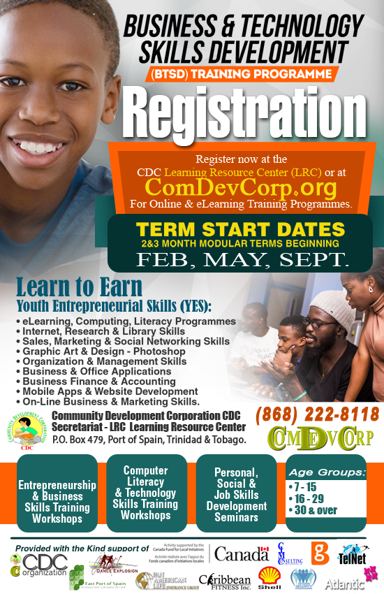 ComDevCorp LRC Technology Training Programmes provided with the kind support and in collaboration with the Canada Fund for Local Initiatives (Trinidad & Tobago), CSP - Citizens Security Programme, Dance Explosion (DanceTNT), Caribbean Fitness (CFInc), CIMConsulting and TelNeT